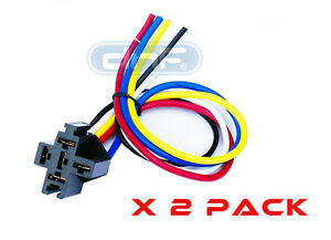 2 PACK 30/40/50 AMP 12V DC BOSCH STYLE RELAY HARNESS SOCKET + 100% COPPER WIRES
