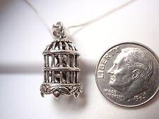 Bird in a Cage Pendant 925 Sterling Silver Corona Sun Jewelry