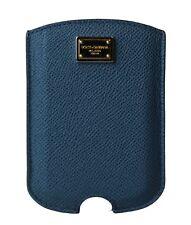 Nuevo Dolce & Gabbana Funda de Teléfono Cuero Azul Oro Logo 11.5cm X 8cm