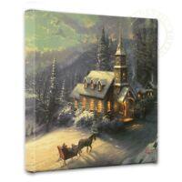 Thomas Kinkade Sunday Evening Sleigh Ride 14 x 14 Wrapped Canvas