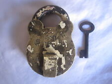 An old solid Brass padlock lock with key decorative monogram & crown marking.