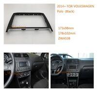 VW 2 Din Car Radio fascia Facia Panel Adapter for VOLKSWAGEN Polo 2014+ (Black)