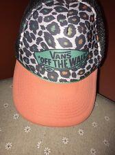 VANS~Snapback Trucker Hat Skateboard Advertising Logo Leopard Print