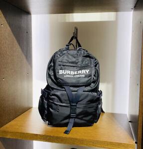 BURBERRY BLACK Backpack WILFIN Unisex Designer Rucksack School Bag NEW Large