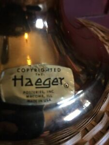 Vintage Haeger Pottery Urn Vase 22 Carat Gold Glaze Original Labels Mint  USA