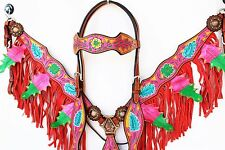 PINK WESTERN HORSE BARREL BRIDLE HEADSTALL FRINGE LEATHER BREAST COLLAR TACK