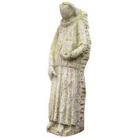 1 Rare 18th Century Antique Carved Stone Sculpture Religious Statue Monk Bible