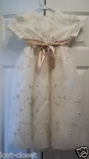 George Ivory Short Sleeve Gold Embroidered Floral Dress Girls Size 5 @ cLoseT