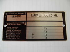 ORIGINAL BLANKO-TYPSCHILD UNIMOG 403, 404, 406, 413, 416, 421, 424, 425, 435 ETC
