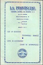 Vintage 1950's Mexico Travel Brochure- La Provencial Compania General de Saguros