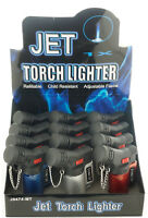 (12) Lot of 12 Side Torch Lighter Adjustable Windproof Butane Refillable 9474MT