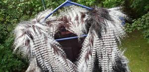 Fever Women's Faux Fur Vest  Sz. S  B&W