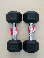 Pair Of 15 Lb Dumbbells Rubber Hex By WEIDER 30 Lb Total Set Brand New! SHIPS ⚡