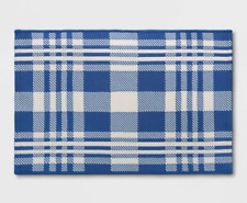 Threshold 2'x3' Indoor Outdoor Reversible Plaid Stripes Rug Blue White