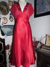 vtg Delicate's Red Liquid Satin Chiffon Rose Long Nightgown Lingerie S