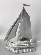 Antique Art Deco Chrome Metal Sailboat Yacht Lamp
