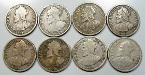 Lot of (8) 1904 Panama Silver 5 Centesimos