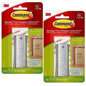 2 Packs 3M Command 1 Universal Picture Hanger & 2 Pairs Of Strips Per Pack