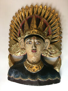 Carved Wood Mask Indonesian Hindu Goddess Bali Art Wall Hanging