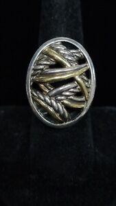 Beautiful Sterling Silver 18k 750 David Yurman Ring 8.25 With Paper #S11/07