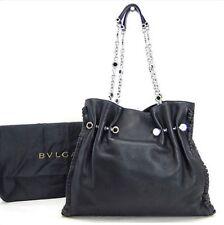 Bvlgari Large Black Handbag Bag Tote W/ Silver Hardware Chain Link Straps New