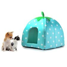 Soft Cozy Dog Cat Puppy Plush Strawberry Pet Bed with Warm Cushion Blue Size L