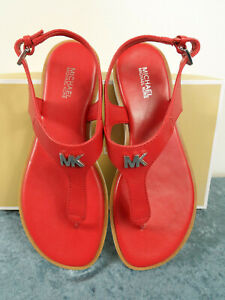 Michael Kors Brady Thong Leather Bright Red Womens Sandal - Size 7 or 8