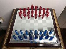 Complete Set of Blue-Red Resin Chess Pieces with 3 1/2 in King (no chess board)