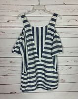 Soft Surroundings Women's XS Extra Small Blue Striped Pocket Spring Top Blouse