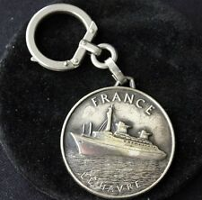 """Vintage FRENCH LINE SS """"FRANCE"""" Silverplate Key Chain"""