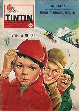 JOURNAL DE TINTIN N°490 - 13 MARS 1958 COUVERTURE ASLAN, VIVE LA NEIGE !