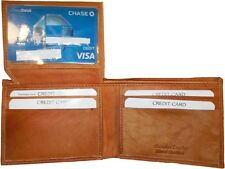 New style leather man's wallets 2 suede lined billfolds Credit card ID spaces bn