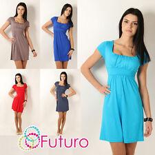Elegant Women's Mini Dress Short Sleeve Sqare Neck Tunic Sizes 8 - 18 8944