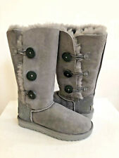 UGG BAILEY BUTTON TALL II TRIPLET GREY GRAY BOOTS US 7 / EU 38 / UK 5