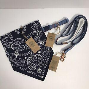 Levi's Strauss Demin & Sherpa Medium Dog Collar Leash Set Limited Edition