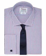 "TM Lewin Long Sleeve Twill Slim Multi Check Shirt 17"" BNWT RRP £44.90 Navy Red"