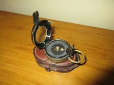 Antique Wwi Brass Compass S. Mordan & Co 1918 Verners pattern Viii leather case