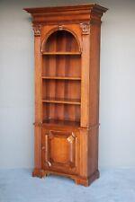Impressive antique walnut open bookcase carved columns Georgian display cabinet