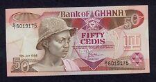 GHANA  50  CEDIS  1986 Q/1  PICK # 25 UNC.