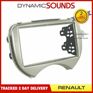 CT23RT08 Double Din Fascia Panel Plate Silver for Renault Scala 2011 Onwards