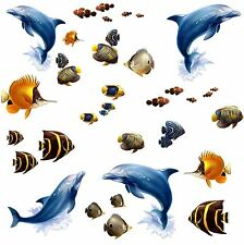 UNDER THE SEA Wall Stickers Room Decor Decals Dolphins Fish Bathroom Ocean Water