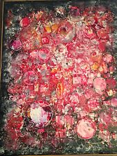 Large Mid Century Modern Abstract Expressionist Mixed Media Painting 3D Signed