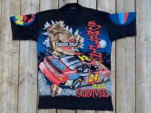 VTG RARE 1997 Jeff Gordon Jurassic Park Ride NASCAR T-Shirt! Chase! Sz L! AOP!