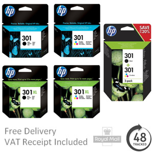 Original HP 301 / 301XL Black & Colour Ink Cartridges - For HP Envy 4505