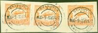 S.Africa 1929 1s Orange SG41 x 3 Piece complete CAPE TOWN 27 SEP 32 KAAPSTAN CDS