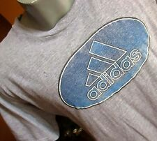 MEDIUM True Vtg 90s ADIDAS CRACKLE HEATHER GRAY GRAPHIC TRASHED T-shirt