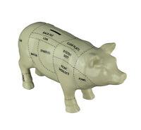 Zeckos Large White Ceramic Butcher Chart Hog Piggy Bank 13 Inches Long