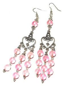 Long Silver Pink Chandelier Earrings Glass Bead Drop Dangle Gypsy Hippy Chic