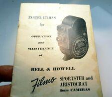 Bell & Howell Sporster Aristocrat 8mm Cámara Manual Instrucciones Libro Guía En