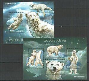 TG068 SALE TOGO FAUNA WILD ANIMALS POLAR BEARS LES OURS POLAIRES KB+BL MNH